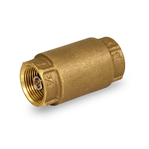 "1/2"" Threaded Spring Loaded Inline Check Valve Brass Lead Free - 150T012-NL"
