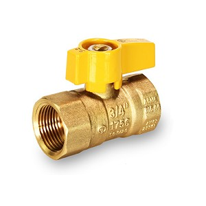 "3/4"" Gas Ball Valve Yellow Handle - 4534Y"
