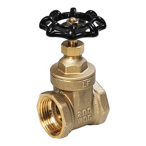 "BRASS GATE VALVE 1"" NPT, Shut-Off Valves 205T001-NL, LEAD FREE"