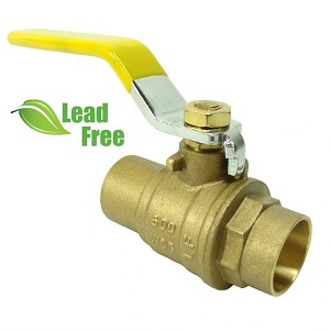 "1"" Brass Ball Valve Sweat, Full Port 600psi WOG, Lead-Free"
