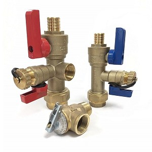 "3/4"" PEX Tankless Water Heater Isolation Valve kit with Pressure Relief Valve LEAD FREE"
