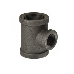 "1 1/4"" x 1 1/4"" x 3/4"" Black Reducing Tee - P6569"