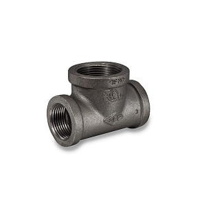 "1/2"" x 1/2"" x 1"" Black Pipe Bull Head Tee - P6642"